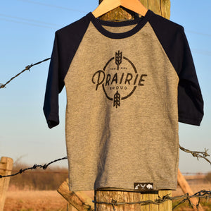 Kids - Harvest 3/4 Raglan - Navy / Gray