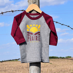 Kids - Sunset 3/4 Raglan - Cranberry / Grey