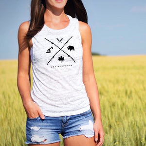 Ladies - Barb Wire Muscle Tank - Heather White