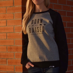 Ladies - B&R 2.0 Crew Sweater - Black / Heather Grey