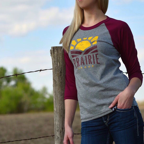 Ladies - Sunset 3/4 Raglan - Cranberry / Grey