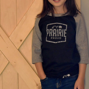 Kids - Prairie 3/4 Raglan - Grey / Black