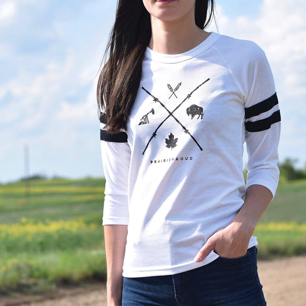 Ladies - Barb Wire Striped 3/4 Raglan - White / Black