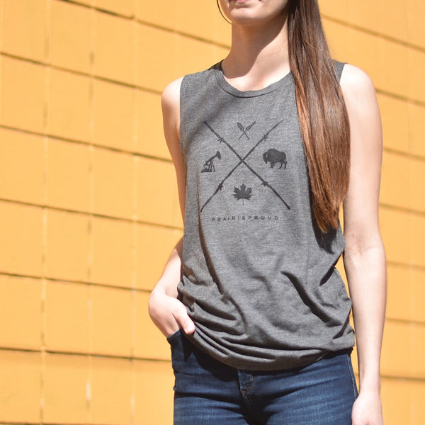 Ladies - Barb Wire Muscle Tank - Heather Charcoal