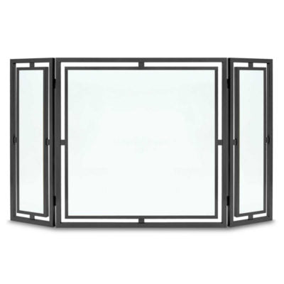 Pilgrim Floating Glass Tri Panel Fireplace Front  Black or Brushed Brass