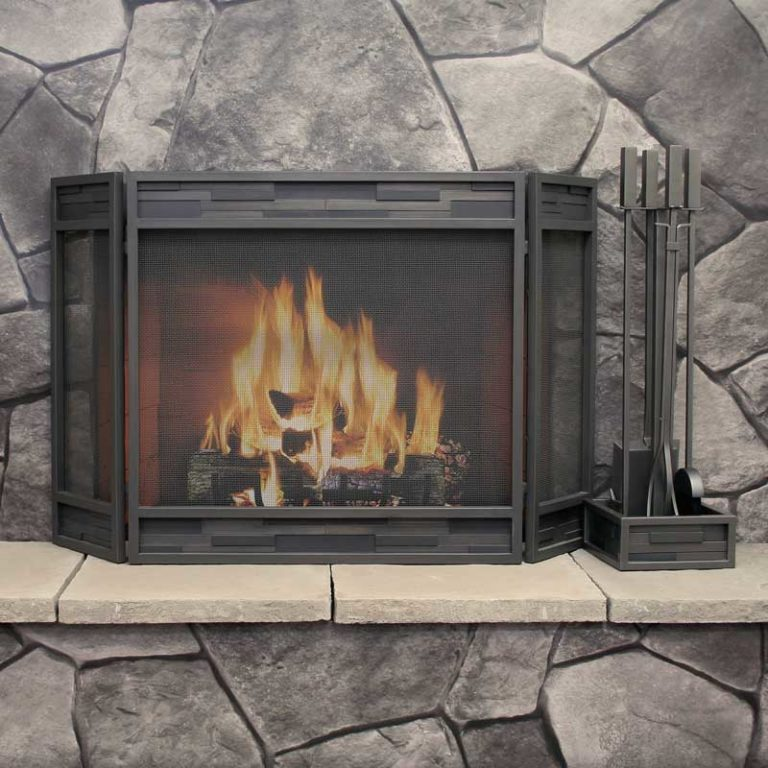 18236 Pilgrim Lanier Tri Panel Folding Fireplace Screen