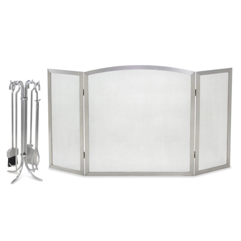 18245 Newport Stainless Steel Tri Panel Fireplace Screen