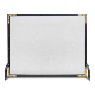 18306 Pilgrim Refined Rivet Single Panel Mesh Fireplace Screen
