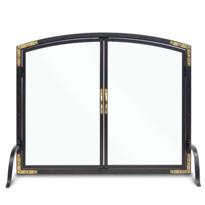 18448 Pilgrim Refined Rivet Glass Fireplace Door
