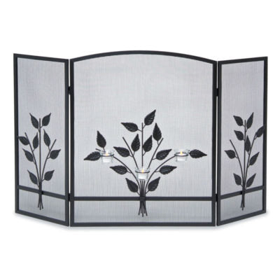 19231 Pilgrim Three Tea Light Tri Panel Fireplace Screen