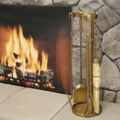 18064 Pilgrim Mid Century Fireplace Tool Set - Brass