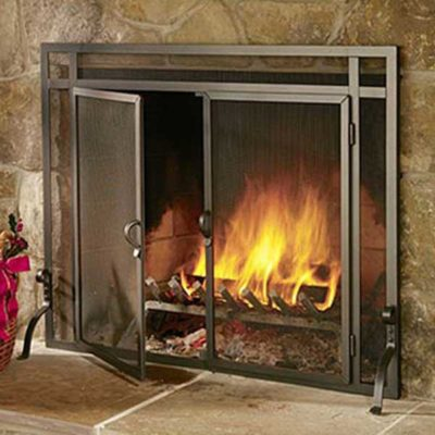 Pilgrim FGND Forged Iron Fireplace Screen with Door (custom sizes available)
