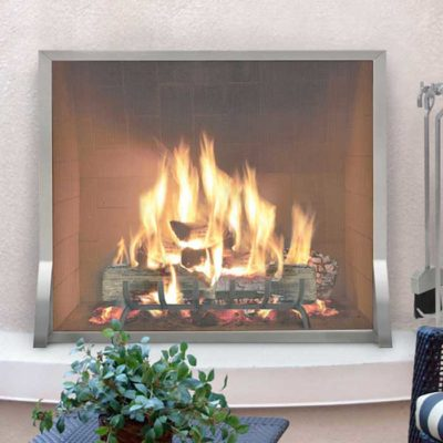 Pilgrim Newport Stainless Steel Single Panel Fireplace Screen