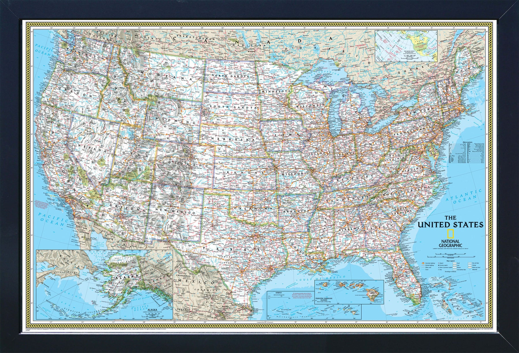 National Geographic Framed Magnetic Travel Map Classic Home Magnetics