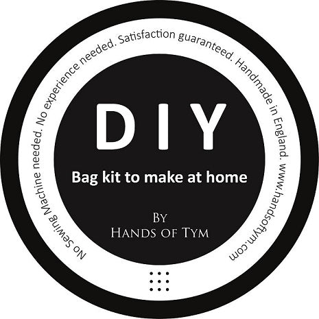 DIY BAG KIT. Make at home with this craft kit. Make your own luxury leather bag, no experience or specialist tools required. Hands of Tym is a bespoke leather accessories workshop run by Leahersmith, bagmaker and tutor Georgie Tym. Sharing bag making love