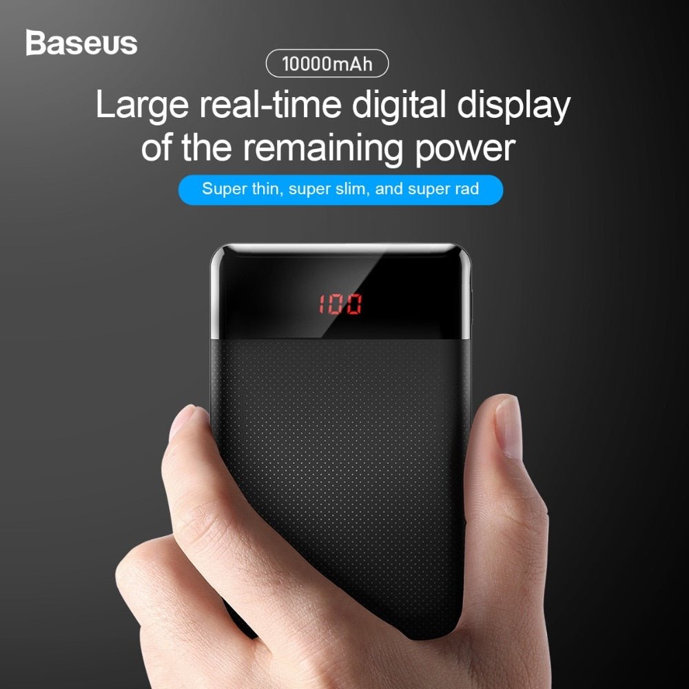 Baseus 10000mAh Power Bank Dual USB External Battery Pack with Digital Display Powerbank Portable Charger For Phone