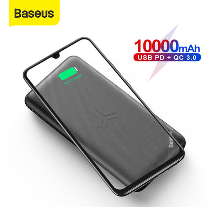 Baseus 10000mAh Power Bank Qi Wireless Charge USB PD Fast Charging Powerbank Slim Portable External Battery Pack