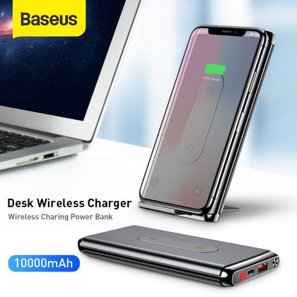 Baseus 10000mAh QI Wireless Charger Power Bank QC3.0 PD Fast Charging Double USB Ports Powerbank External Battery Pack For Phone