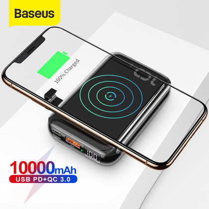 Baseus 10000mAh Qi Wireless Charger Power Bank USB PD Fast Charging Powerbank Portable External Battery Charger For Phone