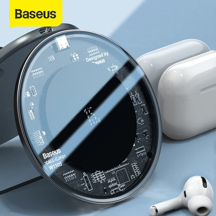 Baseus 15W Fast Wireless Charger For iPhone 11 X Xs Max For Airpods Visible Qi Wireless Charging Pad For Samsung S10 S9 Note 10