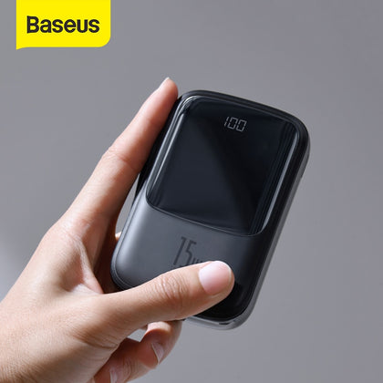 Baseus 15W Power Bank 10000mAh Built-in USB C  Cable Mini Powerbank Portable External Battery Charger Pack For Smartphone