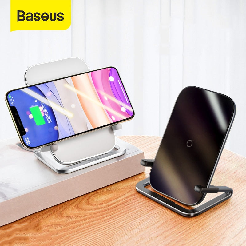 Baseus 15W Qi Wireless Charger Stand Qi Fast Charge Phone Stand Multifunctional Wireless Charging Pad For iPhone 11 Pro Samsung