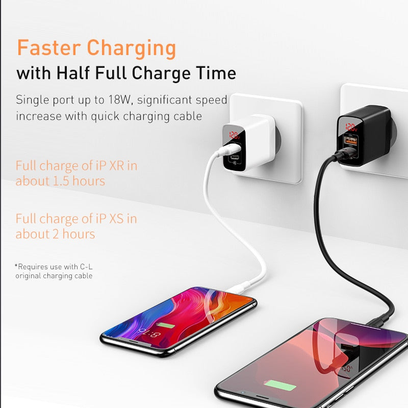 Baseus 18W Dual USB Fast Charger Quick Charge 3.0 USB C PD Charger with Digital Display Double USB Ports Charger For Phone