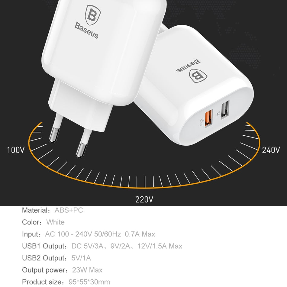 Baseus 18W Quick Charge 3.0 Fast Charger Portable Dual USB Ports Charger QC 3.0 Wall Adapter Charger EU Plug