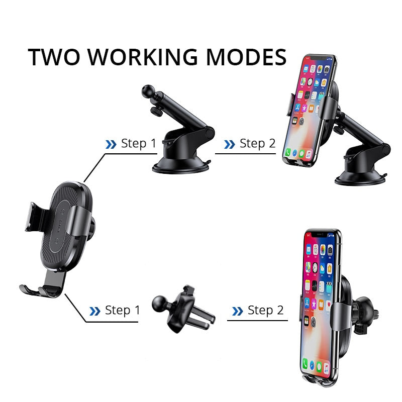 Baseus 2 in1 Qi Wireless Car Charger for iPhone XS Max Samsung S8 Quick Wireless Charging Charger Car Mount Mobile Phone Holder