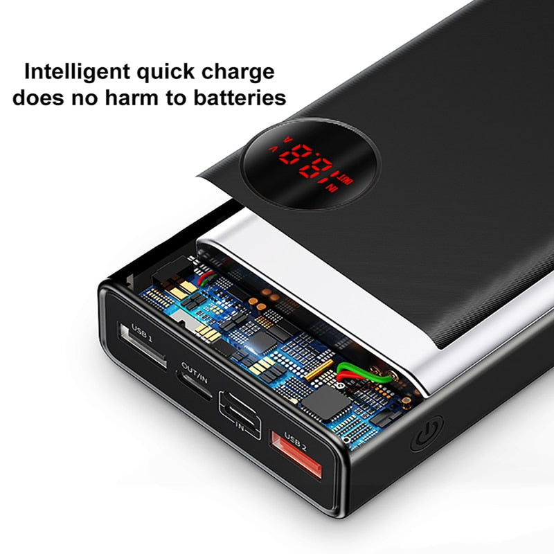 Baseus 20000mAh Power Bank 18W Quick Charge 3.0 Fast Charging Powerbank Portable External Battery Charger QC 3.0 For Smartphone