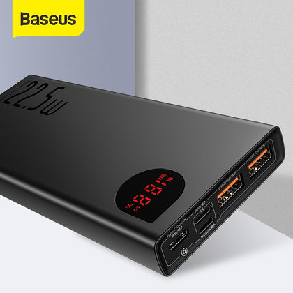Baseus 20000mAh Power Bank 22.5W USB External Battery Charger Support SCP Quick Charge 3.0 PD Fast Charging Powerbank For Phone