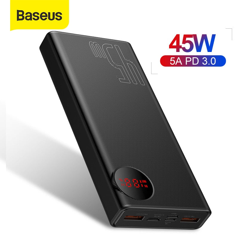 Baseus 20000mAh Power Bank 45W USB Type C PD Fast Charging Powerbank Porable External Battery Charger For Smartphone Laptop