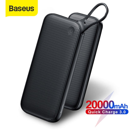 Baseus 20000mAh Power Bank Quick Charge 3.0 USB External Battery Powerbank 18W QC 3.0 PD Fast Chagring Poverbank For Phone