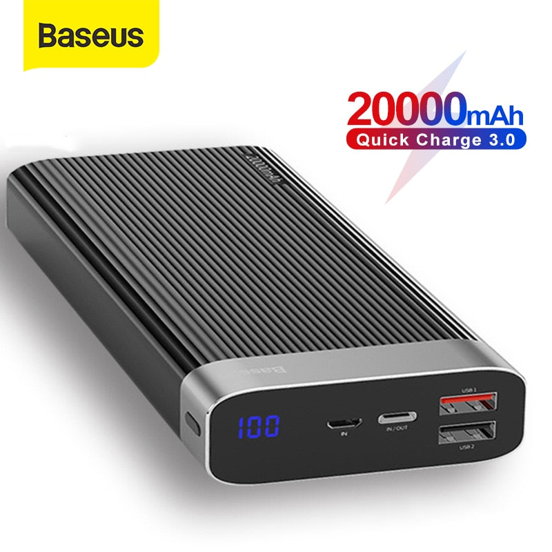 Baseus 20000mAh Power Bank Quick Charge 3.0 USB Type C PD Fast Charging Powerbank Portable External Battery Phone Charger