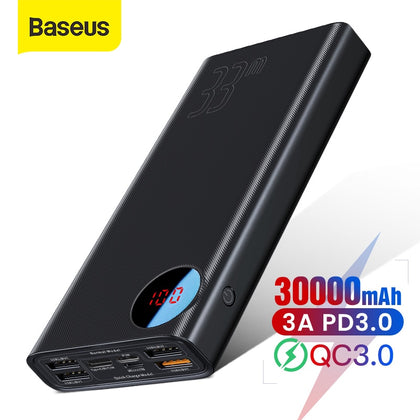 Baseus 30000mAh Power Bank Quick Charge 3.0 Portable External Battery Charger USB PD Fast Charging Powerbank For Phone Laptop
