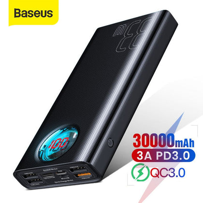 Baseus 30000mAh Power Bank Quick Charge 3.0 USB PD Fast Charging Powerbank Portable External Battery Pack For Smartphone Laptop