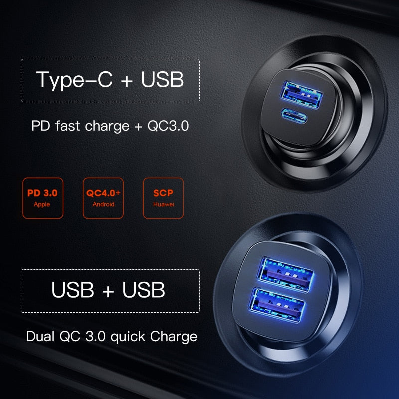 Baseus 30W Quick Charge 4.0 3.0 Car Charger For Xiaomi Mi9 Samsung S9 Fast PD AFC SCP for Huawei Supercharge Car Phone Charger