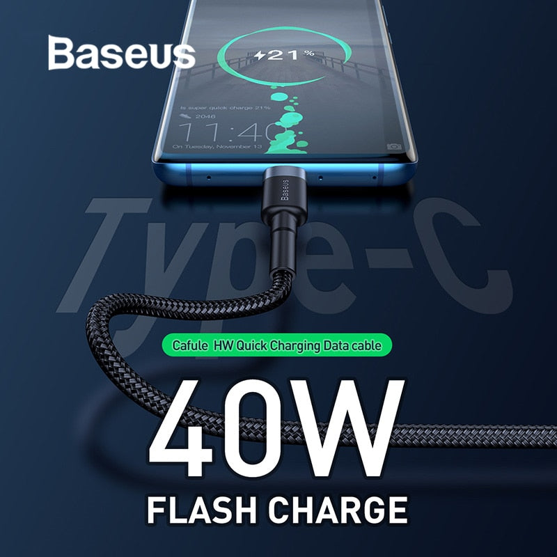 Baseus 40W Supecharge USB Type C Cable for Huawei P30 Mate 20 30 Pro 5A Fast Charging Quick Charge 3.0 Type USB-C Data Cable