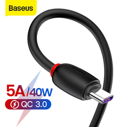 Baseus 40W USB Type C Cable for Huawei P30 Pro Mate 30 P20 Lite Supercharge USB C Cable Type-C Fast Charging USB-C Data Cable