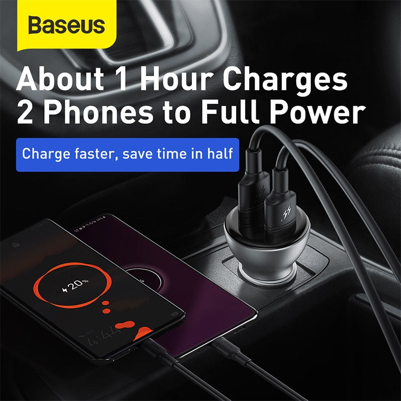 Baseus 45W Quick Charge 4.0 USB Car Charger for Samsung Xiaomi 10 QC 4.0 3.0 PD 3.0 Fast Car Charging for Phone Car Charger