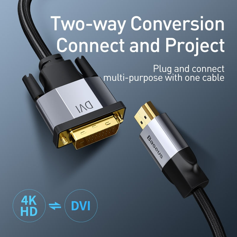 Baseus 4KHD DVI to HDMI Cable Male to Male Two-way HDMI to DVI Adapter Converter for PS4 PC HDTV Projector