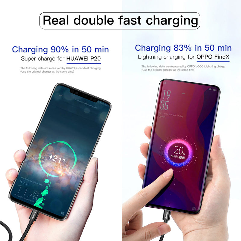 Baseus 5A Surpercharge USB Type C Cable for Huawei P30 Pro Mate 30 Pro USB C Cable Qucik Charge 3.0 Fast Charging for Xiaomi 8 9