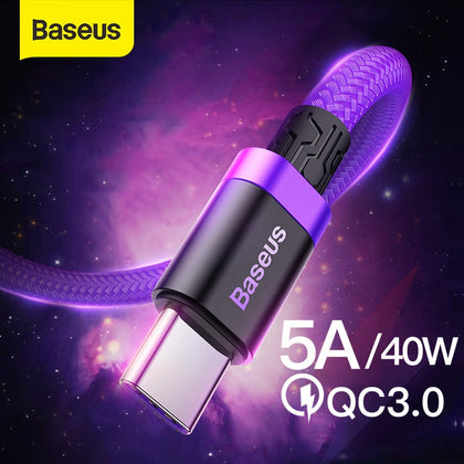 Baseus 5A USB Type C Cable for Huawei P30 Lite Mate 20 30 Pro Supercharge Type C Cable Quick Charge 3.0 USB-C Charger Wire Cord