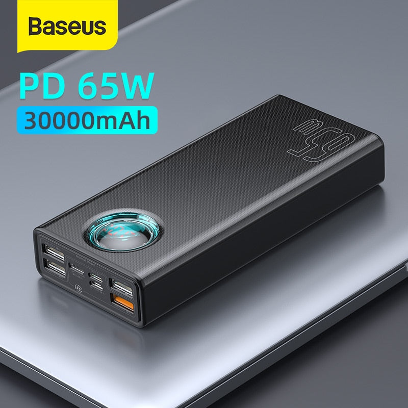 Baseus 65W Power Bank 30000mAh PD 3.0 Quick Charge 3.0 FCP SCP Powerbank Portable External Charger For Smartphone Laptop Tablet