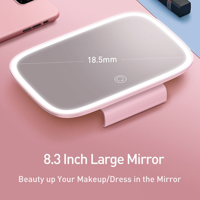 Baseus 8.3 Inch Car Sun Visor Mirror Auto Cosmetic Makeup Mirror Sun-shading Mirrors With LED Chargable Light