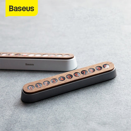 Baseus Alloy Car Temporary Parking Card Wooden Mobile Phone Number Card Magnet Flip Telephone Numbers Car Interior Accessories