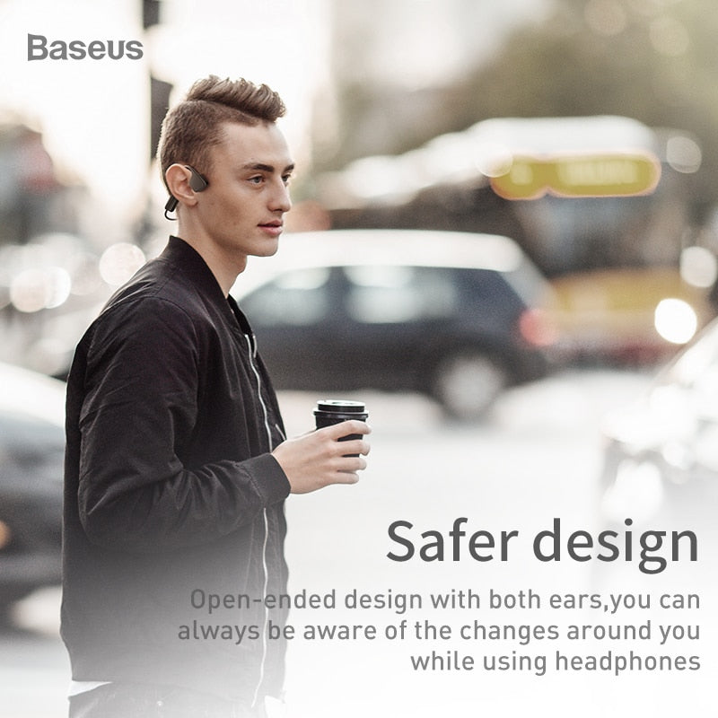 Baseus BC10 Bone Conduction Wireless Bluetooth Earphone Stereo Headset Sports Headphone Titanium Waterproof earphone For Running