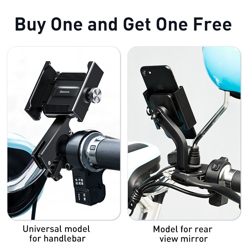Baseus Bike Phone Holder Universal Motorcycle Bicycle Mobile Phone Stand Handlebar Rear View Mirror Clip Phone Holder Bracket