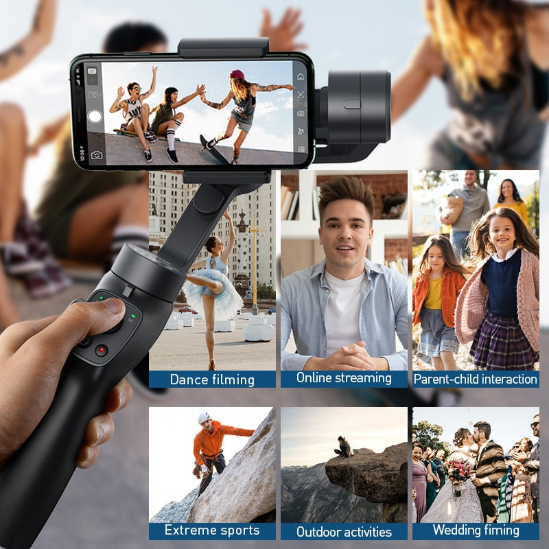 Baseus Bluetooth Selfie Stick 3-Axis Handheld Gimbal Stabilizer Outdoor Holder w/Focus Pull & Zoom for iPhone Action Camera