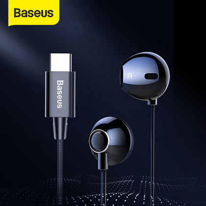 Baseus C06 USB Type-c Earphone Stereo Sound Earbuds with Mic for Xiaomi Mi 9 8 Se Note 3 Oppo Find X